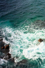 crushing sea waves texture. turquoise water background. dynamic water view from above