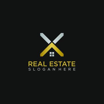 Real estate letter X logo graphic concept