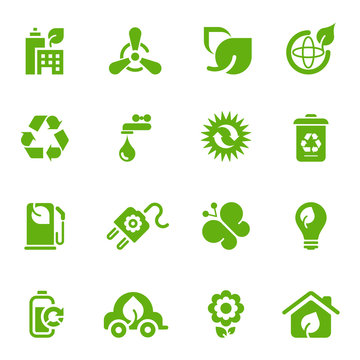 Environmental and ecology icon set, green tinted design elements