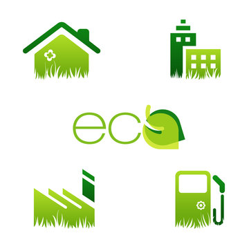 environmental icons with eco friendly house, office, industry and fuel station