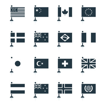 Minimal world flag icons, modern vector elements designed in monotone shapes. Flags of usa, america, china, canada, france, europe, european union, united kingdom, japan, united nations