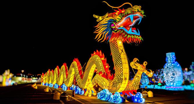chinese dragon lantern festival panoramic night