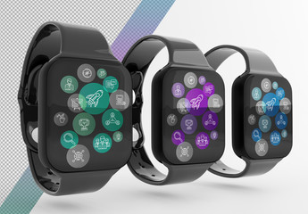 Mockup of 3 Smartwatches