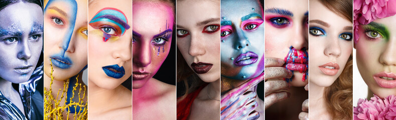Collage Faces of Women With Fashion Creative Makeup. Art Make up. Beauty Model make-up. Girl Bright Color Makeup. Face Art