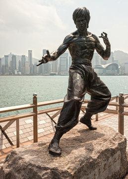 Hong Kong, China -  February 13,, 2016: Bruce Lee statue , Hong Kong.