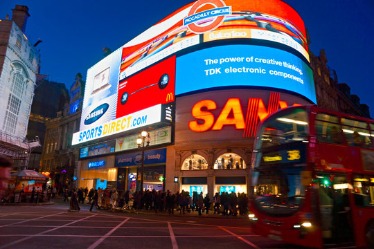 of Piccadilly Circus on March 18, 2011 in London. Famous advertisements of TDK and Sanyo have been here for at least 20 years and are considered symbols of famous square.
