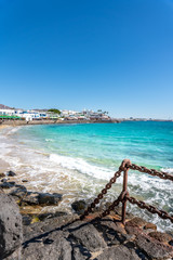 Playa Bianca, Lanzarote, Canary Islands. Turquoise water and beach