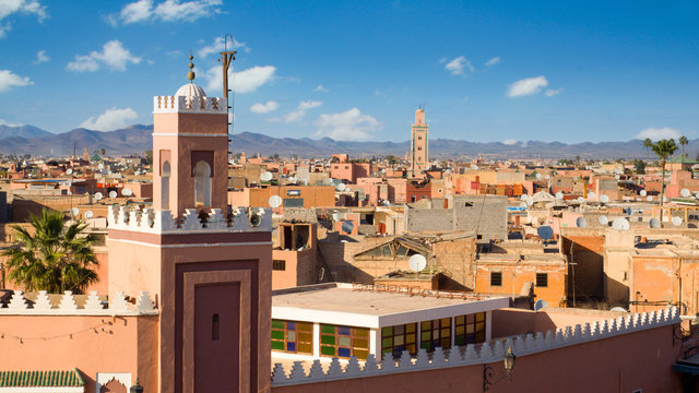 Minaret Tower On The Historical Walled City (medina) In Marrakech. Morocco