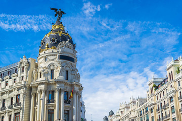 Downtown of Madrid (Gran Via and Metropolis Building), Spain Wall mural