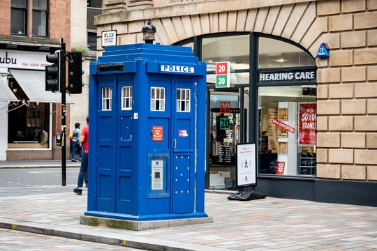 The famous blue police booth at Wilson Street in Glasgow city well known from The Doctor Who TV series
