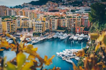 Aerial view of Monaco port. Port Fontvieille, Monaco Ville, topview from Monaco Ville, azure water, harbor, luxury apartments, yachts. view of yachts in Port Hercules, Monaco. Fototapete