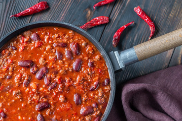 Chili con carne in a frying pan