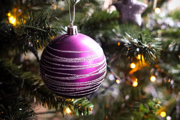 Purple Christmas Tree Ball Decoration