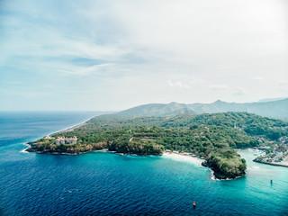 Beach, a hidden tranquil beach near Aerial view of the stunning Bias Tugel Padang Bai in Northeast Bali in Indonesia