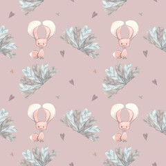 Watercolor kids pattern with fennec fox, hearts and flowers