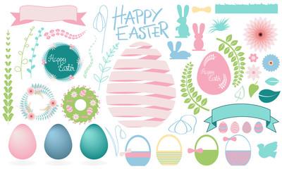 Happy Easter big set of floral vector elements: easter egg, rabbit, ribbon, wreath, basket, spring flowers, bird