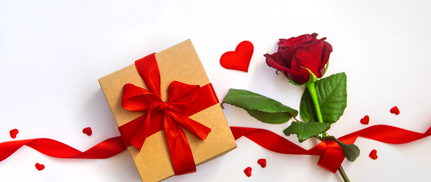 Beautiful background with flowers for Valentine's day congratulation. Selective focus.