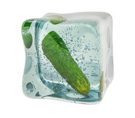 Cucumber frozen in ice cube, 3D rendering