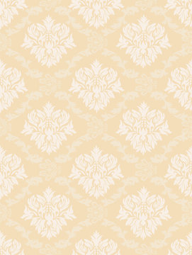Gorgeous and retro design damask pattern background material, yellow, graphic material, vector data