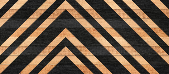 Black and brown wooden wall with geometric pattern. Painted wooden floor with striped pattern.