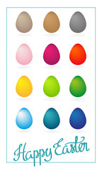 Happy Easter simple greeting card with colorful eggs
