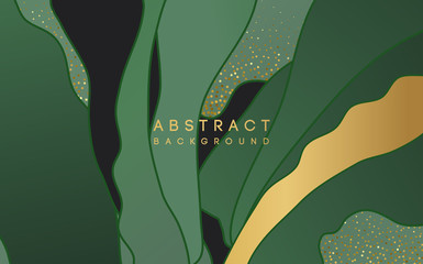 abstract background with green shape and gold glitter Wall mural
