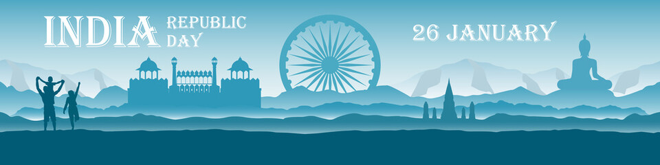 Foto auf Acrylglas Blau türkis Republic Day India - panoramic landscape with national landmarks, mountains and people. Vector illustration in flat style with text. Сoncept of celebrating independence or family travel in India.