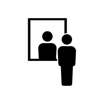 Men look to mirror icon