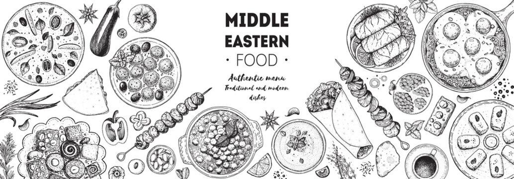 Arabic food top view frame. Food menu design. Vintage hand drawn sketch vector illustration. Arabian cuisine frame. Middle eastern food.