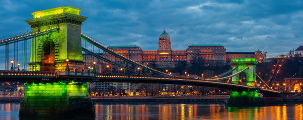 Chain Bridge with Buda Castle in the background, Budapest, Hungary