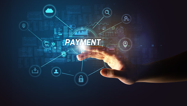 Hand touching PAYMENT inscription, Cybersecurity concept