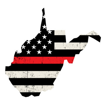 State of West Virginia Firefighter Support Flag Illustration