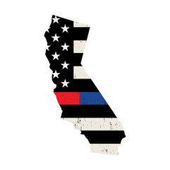 State of California Police and Firefighter Support Flag Illustration