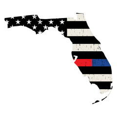 State of Florida Police and Firefighter Support Flag Illustration