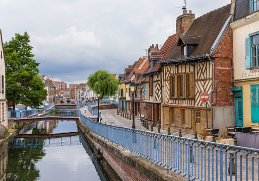 Amiens, France. Canal of the Somme River in the urban area of Saint-Leu