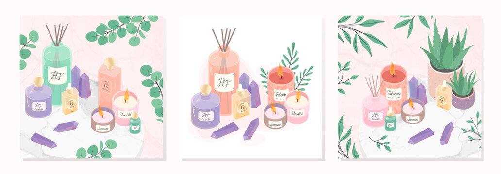 Vector bundle of  candles,deffuser,oil,aloe,perfume and amethyst crystals on a decorative marble tray.Ayurveda,spa and wellness concept.Aromatherapy and ralax design elements.Home fragrances