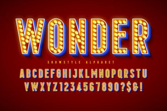 Retro cinema font design, cabaret, LED lamps letters