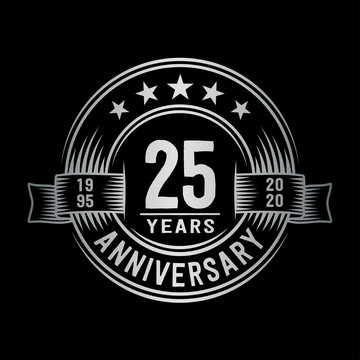 25 years anniversary celebration logotype. Vector and illustration.