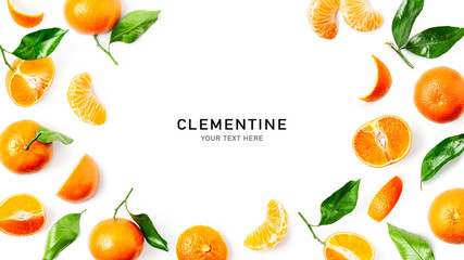 Clementine citrus fruit frame and creative composition Fototapete