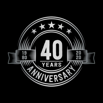 40 years anniversary celebration logotype. Vector and illustration.