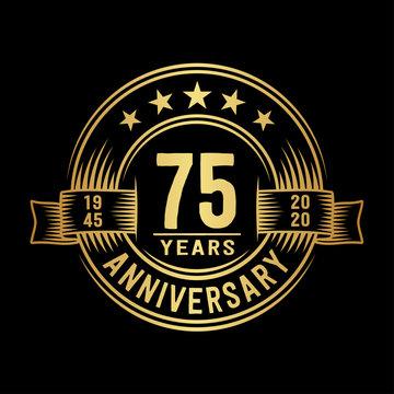 75 years anniversary celebration logotype. Vector and illustration.