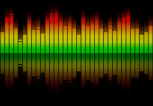 Colorful retro audio equalizer bars with sound spectrum colors from green to red isolated on black. Music or decibels wave illustration.