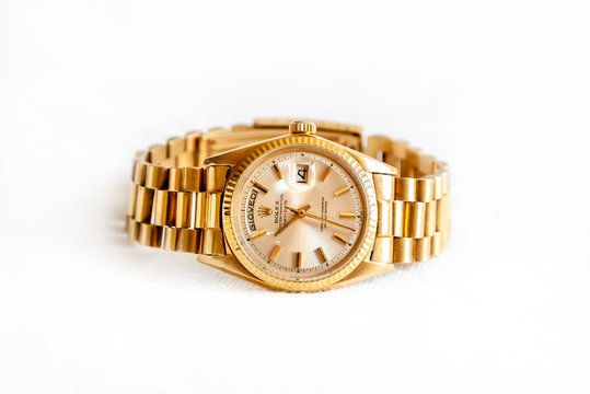Rolex Oyster Perpetual Day- Date watch on white background