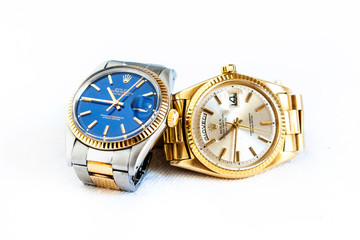 Rolex Oyster Perpetual Day- Date and Oyster Blue  watch on white background
