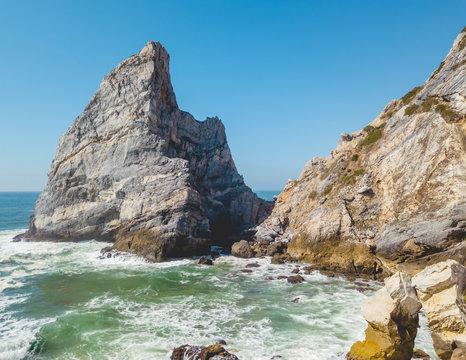 Rugged cliffs  steadfast in the ocean