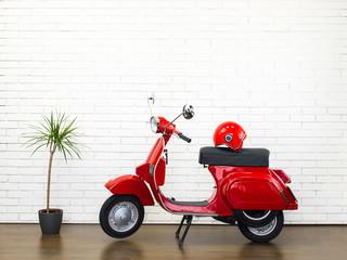 Fotorolgordijn Scooter Beautiful red vespa