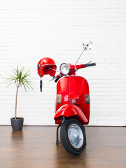 Fotorolgordijn Scooter Beautiful red vespa