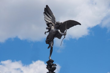 Statue of Eros in Picadilly circus, London, Uk.