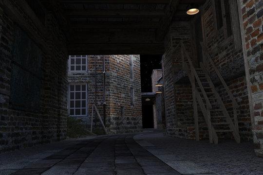 Old dark ally way, 3d render.