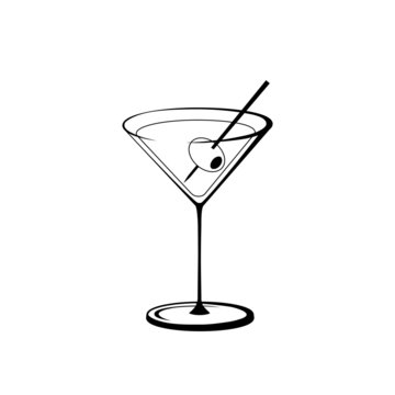 Martini with Olive, black and white